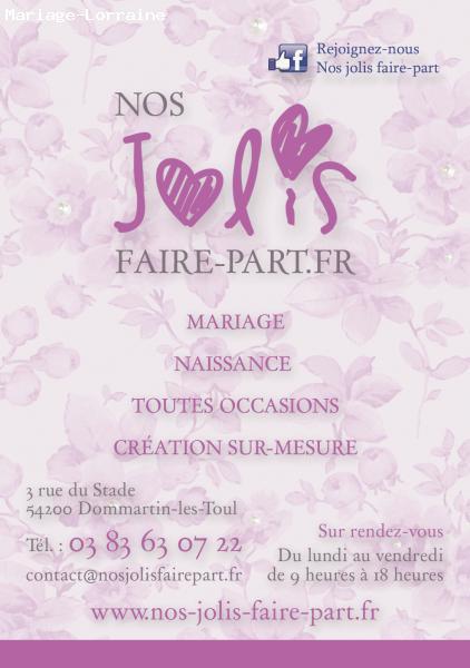 Plus adapté Faire-part Mariage - Dommartin-les-Toul (54) - Nos-jolis-faire-part.fr TH-22
